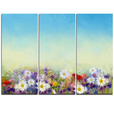 Designart Soft Flowers In Spring Background LargeFloral Wall Art Triptych Canvas