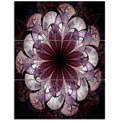 Designart Soft Pink Digital Art Fractal Flower Floral Triptych Canvas Art Print