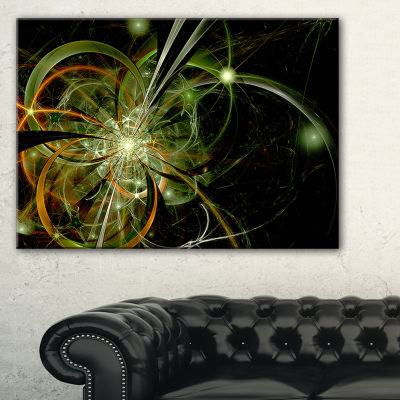 Designart Soft Yellow Fractal Flower Design FloralCanvas Art Print