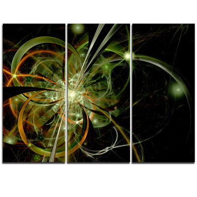 Designart Soft Yellow Fractal Flower Design FloralTriptych Canvas Art Print