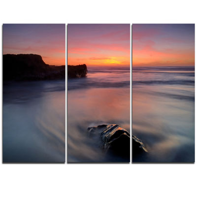 Designart Softness In The Tide Magoito Beach Seashore Triptych Canvas Art Print