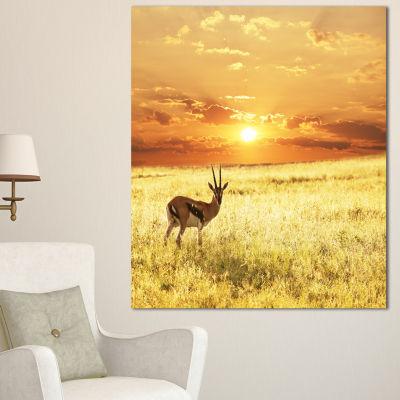 Designart Solitary Antelope In Grassland African Landscape Canvas Art Print - 3 Panels