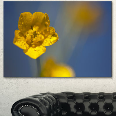 Designart Solitary Large Yellow Flower Floral Canvas Art Print