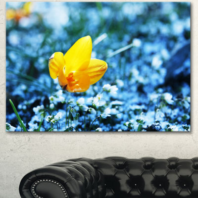 Designart Solitary Yellow Flower On Blue Floral Canvas Art Print