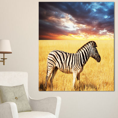 Designart Solitary Zebra In African Grassland Extra Large African Canvas Art Print - 3 Panels