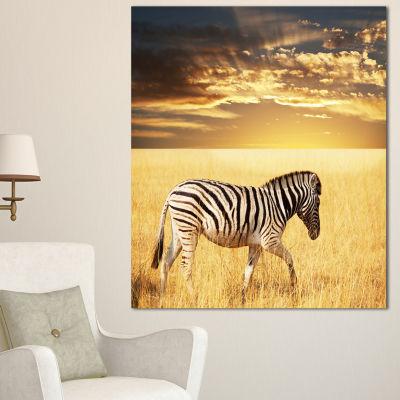 Designart Solitary Zebra Walking In Grassland African Canvas Art Print