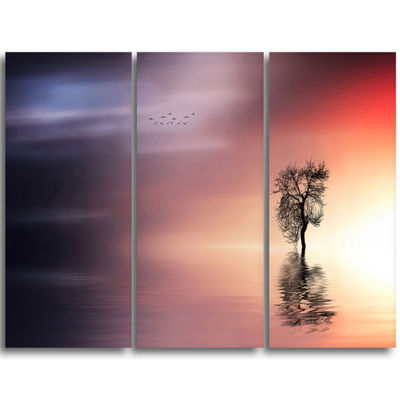 Designart Solitude Tree And Flying Birds Extra Large Wall Art Landscape
