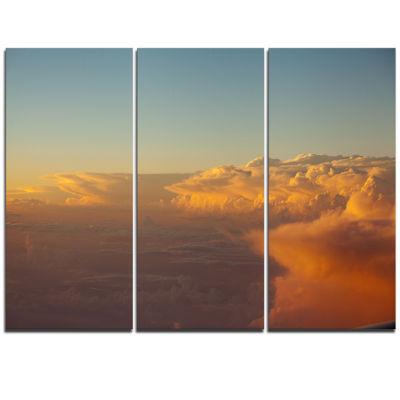Designart Solotful Sunset In Sky Cloudscape ExtraLarge Seascape Art Triptych Canvas
