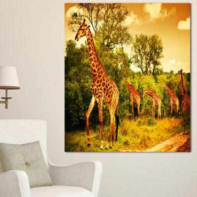 Designart South African Giraffes African Canvas Art Print - 3 Panels