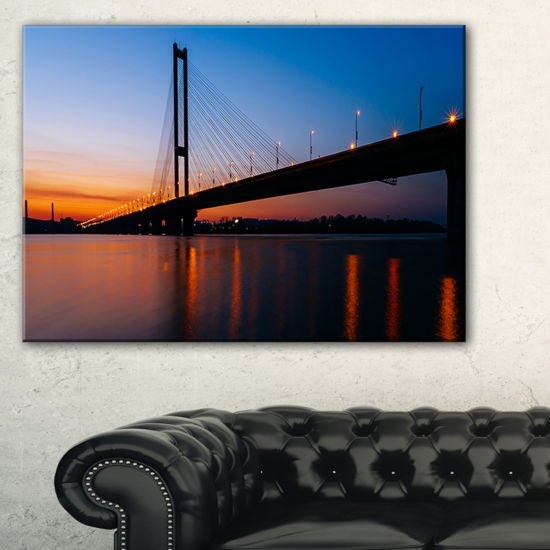 Designart Southern Bridge Panorama In Kiev Cityscape Canvas Art Print