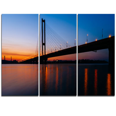 Designart Southern Bridge Panorama In Kiev Cityscape Triptych Canvas Art Print