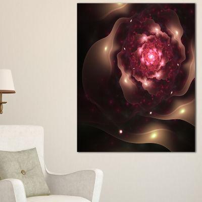 Designart Sparkling Dark Fractal Flower Digital Art Floral Canvas Art Print