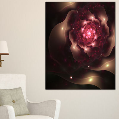 Designart Sparkling Dark Fractal Flower Digital Art Floral Canvas Art Print