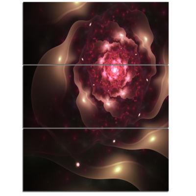 Designart Sparkling Dark Fractal Flower Digital Art Floral Triptych Canvas Art Print