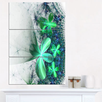 Designart Sparkling Green And Blue Fractal FlowerFloral Triptych Canvas Art Print