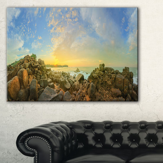 Designart Sri Lanka Romantic Beach Panorama LargeSeascape Art Canvas Print