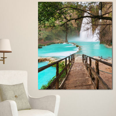 Designart Stairway Into Beautiful Waterfall Oversized Landscape Canvas Art