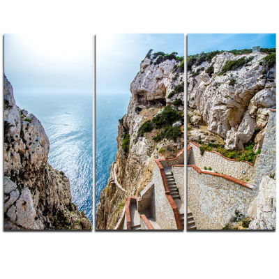 Designart Stairway To Neptune S Grotto Seascape Triptych Canvas Art Print