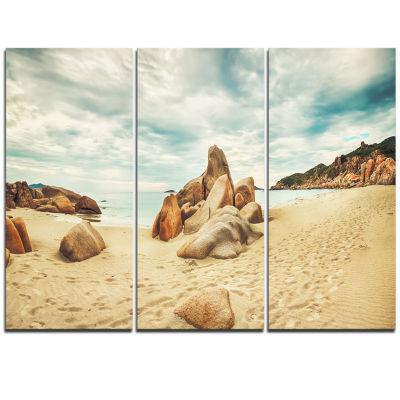 Designart Stones On The Foreground Beach LandscapeTriptych Canvas Art Print