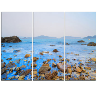 Designart Stony Port Shelter Beach Hong Kong LargeSeashore Triptych Canvas Print