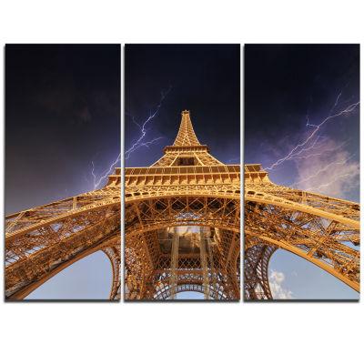 Designart Storm Above Paris Paris Eiffel TowerinParis Cityscape Triptych Canvas Print