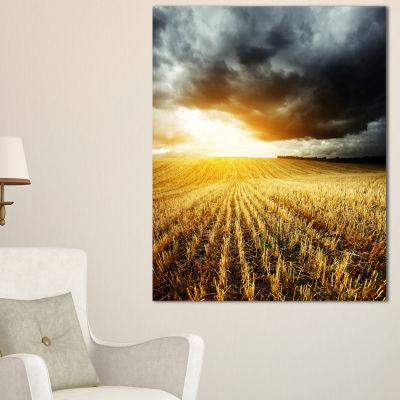 Designart Storm Dark Clouds Over Wheat Stems Landscape Artwork Canvas