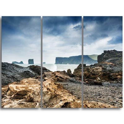 Designart Storm In Rocky Coast Of Atlantic Landscape Triptych Canvas Art Print