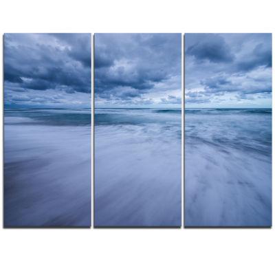 Designart Stormy Clouds Over Ocean Modern SeascapeTriptych Canvas Artwork