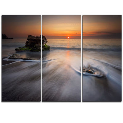 Designart Stormy Sea With Rushing White Waves Beach Photo Triptych Canvas Print