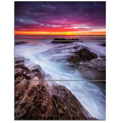 Designart Stormy Seashore With Colorful Sky BeachPhoto Triptych Canvas Print