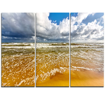 Designart Stormy Summer Sea With White Clouds Seascape Triptych Canvas Art Print