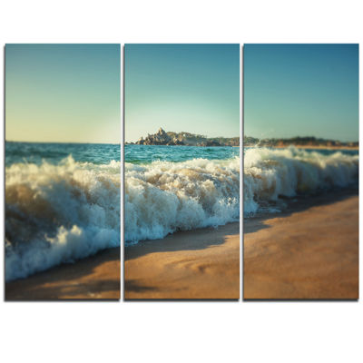 Designart Stormy Waves Hitting Beach Sand Modern Beach Triptych Canvas Art Print