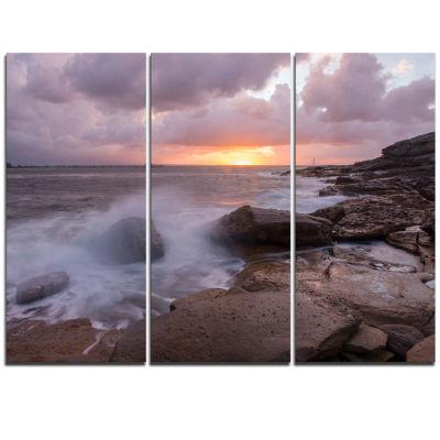 Design Art Stormy Waves In Beautiful Australia Beach Large Seashore Triptych Canvas Print
