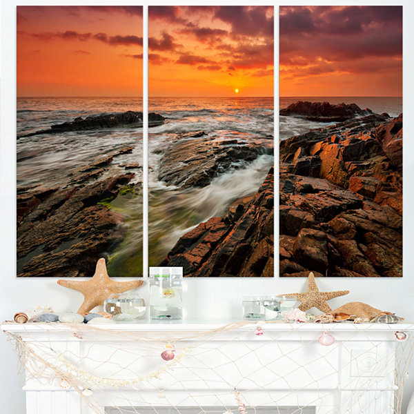 Designart Stormy Waves Rushing Into Rocks Beach Photo Triptych Canvas Print