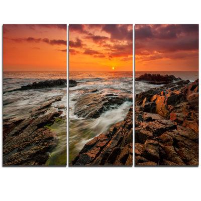 Designart Stormy Waves Rushing Into Rocks Beach Photo Triptych Canvas Print