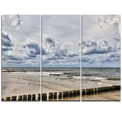 Designart Stormy Weather In Hiddensee Sea SeascapeTriptych Canvas Art Print