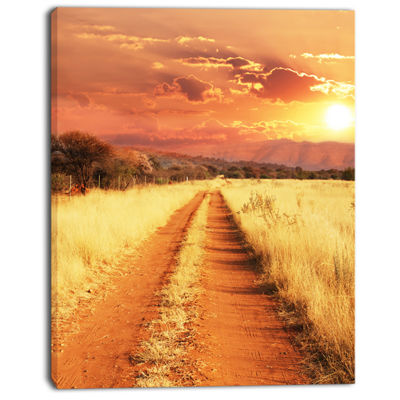 Designart Straight Path In African Landscape Oversized Landscape Canvas Art