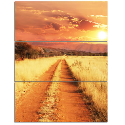 Designart Straight Path In African Landscape Oversized Landscape Canvas Art - 3 Panels