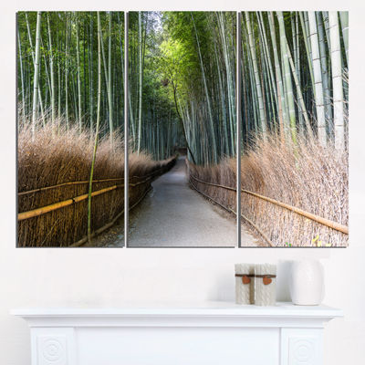 Designart Straight Path In Bamboo Forest Forest Triptych Canvas Wall Art Print