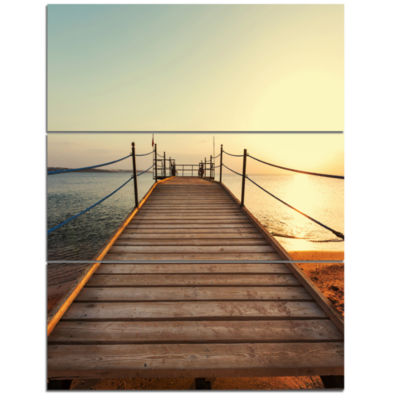 Designart Strong Wooden Boardwalk Into Sea BridgeTriptych Canvas Art Print