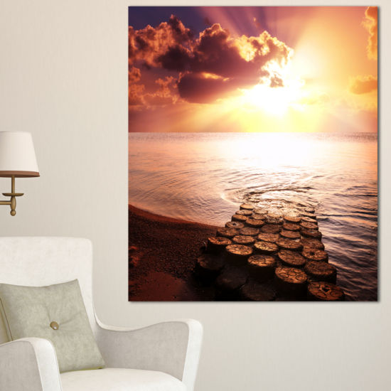Designart Stunning Beach With Old Bridge SeascapeCanvas Art Print