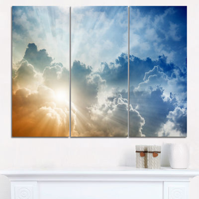 Designart Stunning Blue Sky With Clouds Contemporary Landscape Triptych Canvas Art