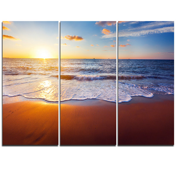 Design Art Stunning Blue Waves And Brown Sand BeachPhoto Triptych Canvas Print