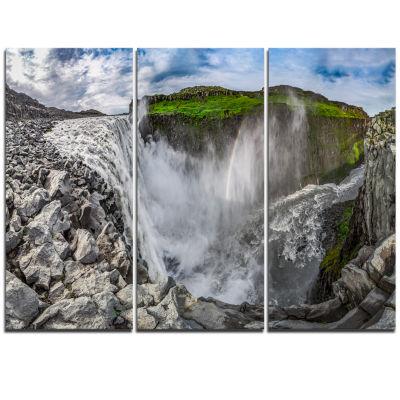 Designart Stunning Dettifoss Waterfall Iceland Landscape Print Wall Artwork