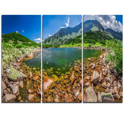 Designart Stunning Lake In Mountains Panorama Extra Large Seashore Triptych Canvas Art