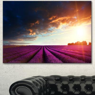 Designart Stunning Lavender Field Under Cloudy SkyFloral Canvas Art Print