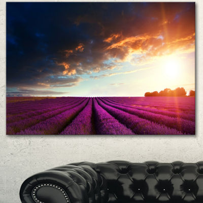 Designart Stunning Lavender Field Under Cloudy SkyFloral Canvas Art Print - 3 Panels