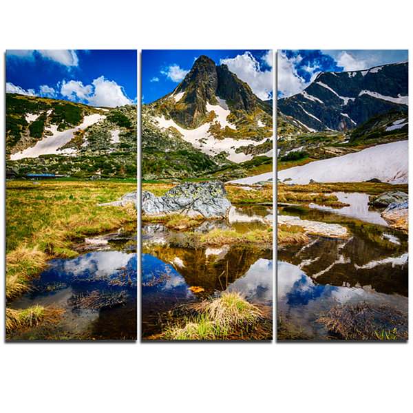 Design Art Stunning Mountains In Rila Lakes District Landscape Triptych Canvas Art Print