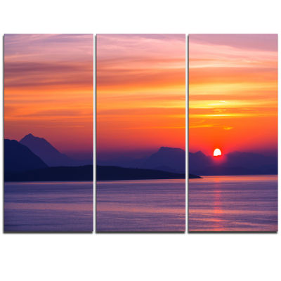 Designart Stunning Sunset In Greece Extra Large Seascape Art Triptych Canvas