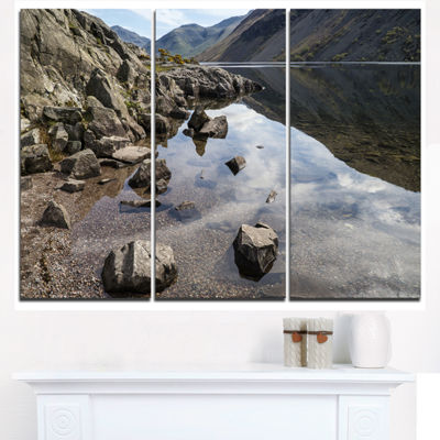 Designart Stunning Wast Water Reflection LandscapeArtwork Triptych Canvas